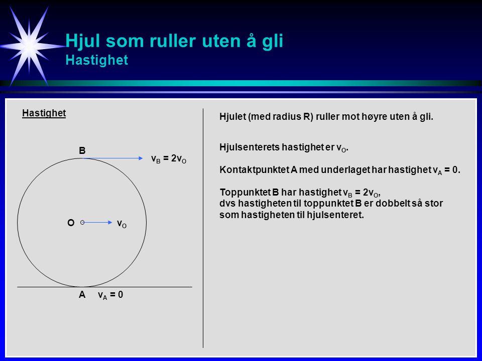 Hjul som ruller uten å gli Hastighet B A O Hastighet v B = 2v O vOvO v A = 0 Hjulet (med radius R) ruller mot høyre uten å gli. Hjulsenterets hastighe