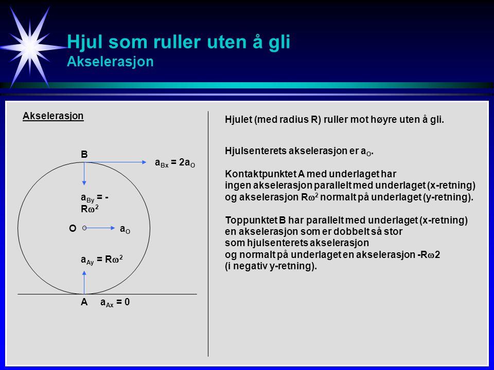Hjul som ruller uten å gli Akselerasjon B A O Akselerasjon a Bx = 2a O aOaO a Ax = 0 a By = - R  2 a Ay = R  2 Hjulet (med radius R) ruller mot høyr