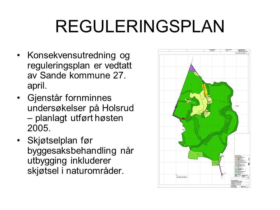 REGULERINGSPLAN •Konsekvensutredning og reguleringsplan er vedtatt av Sande kommune 27. april. •Gjenstår fornminnes undersøkelser på Holsrud – planlag