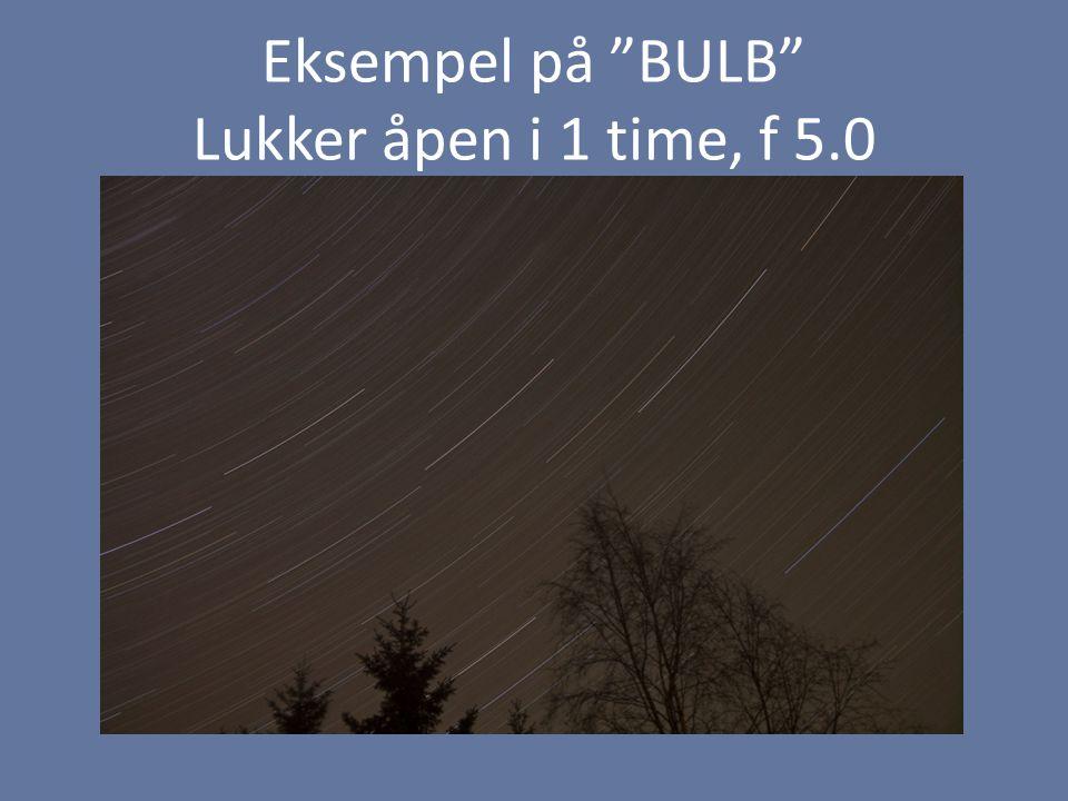 """Eksempel på """"BULB"""" Lukker åpen i 1 time, f 5.0"""