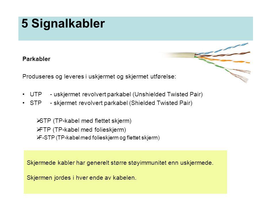 5 Signalkabler Parkabler Produseres og leveres i uskjermet og skjermet utførelse: • UTP- uskjermet revolvert parkabel (Unshielded Twisted Pair) • STP-