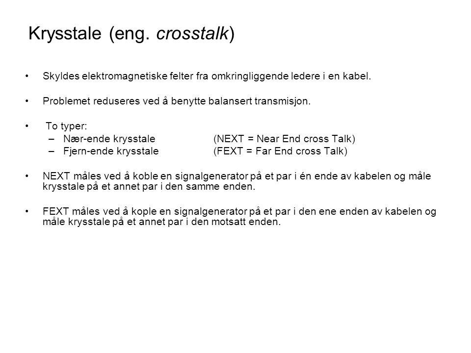 Krysstale (eng. crosstalk) •Skyldes elektromagnetiske felter fra omkringliggende ledere i en kabel. •Problemet reduseres ved å benytte balansert trans