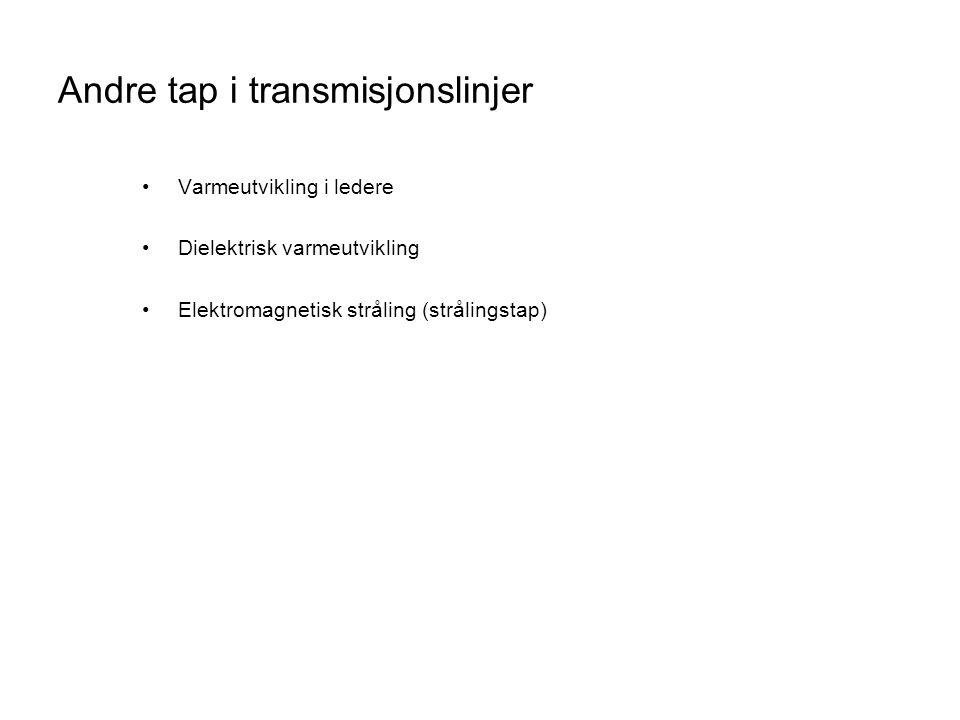 Andre tap i transmisjonslinjer •Varmeutvikling i ledere •Dielektrisk varmeutvikling •Elektromagnetisk stråling (strålingstap)