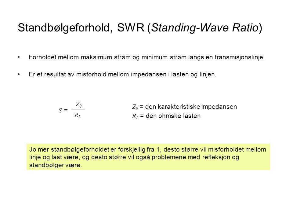Standbølgeforhold, SWR (Standing-Wave Ratio) •Forholdet mellom maksimum strøm og minimum strøm langs en transmisjonslinje. •Er et resultat av misforho