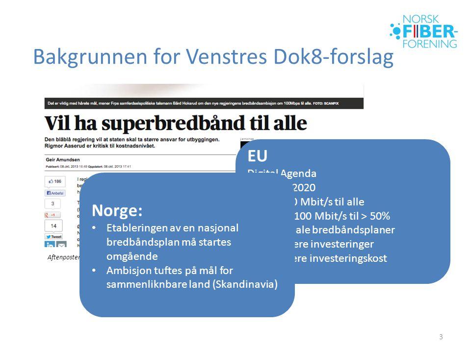 Bakgrunnen for Venstres Dok8-forslag 3 EU Digital Agenda • Innen 2020 • 30 Mbit/s til alle • > 100 Mbit/s til > 50% • Nasjonale bredbåndsplaner • Stimulere investeringer • Redusere investeringskost Aftenposten, 8 okt 2013 Norge: • Etableringen av en nasjonal bredbåndsplan må startes omgående • Ambisjon tuftes på mål for sammenliknbare land (Skandinavia)