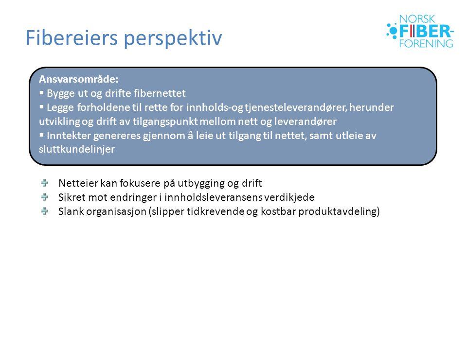 Fibereiers perspektiv Ansvarsområde:  Bygge ut og drifte fibernettet  Legge forholdene til rette for innholds-og tjenesteleverandører, herunder utvi