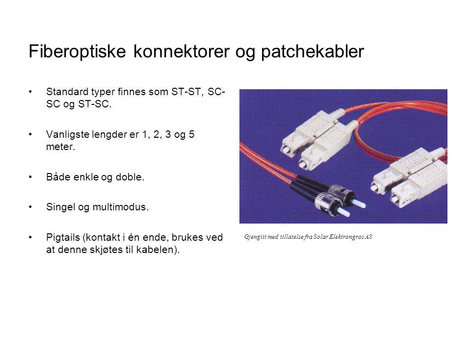 Fiberoptiske konnektorer og patchekabler •Standard typer finnes som ST-ST, SC- SC og ST-SC.