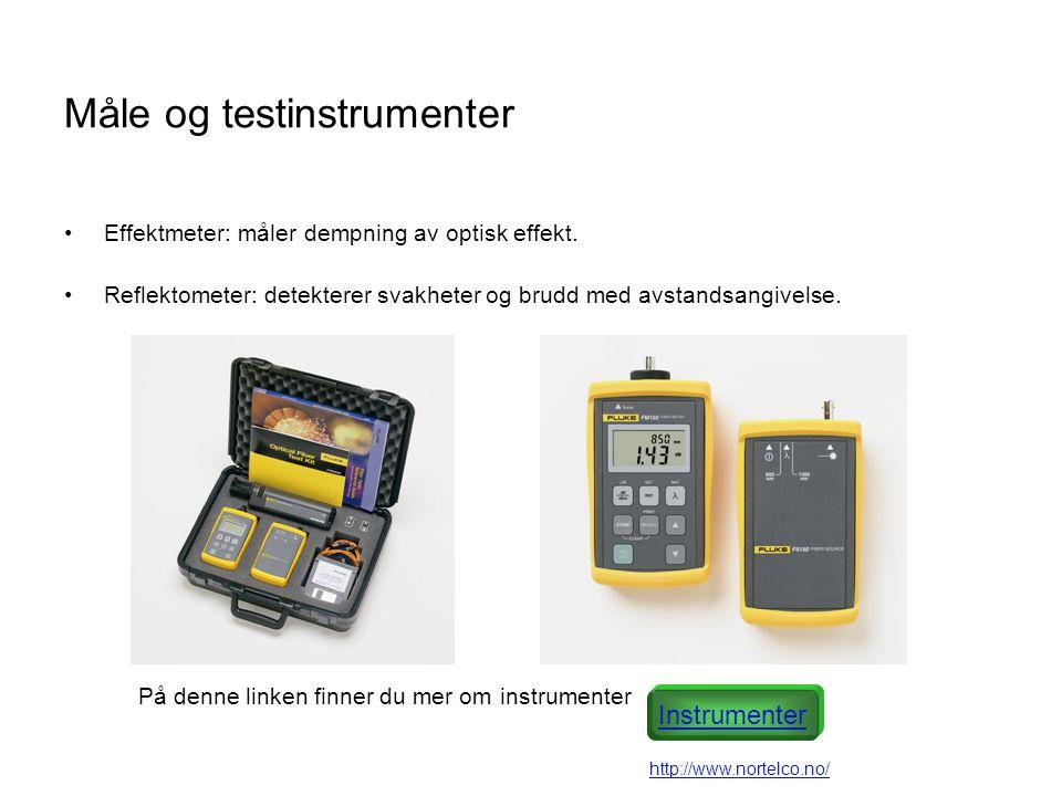 Måle og testinstrumenter •Effektmeter: måler dempning av optisk effekt.