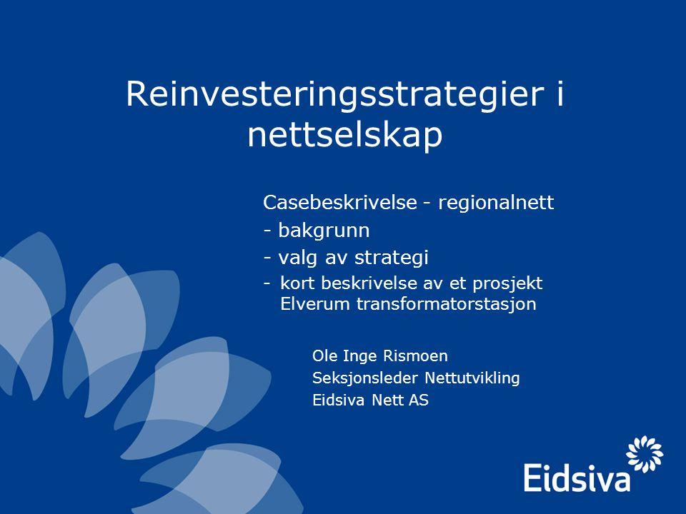 Reinvesteringsstrategier i nettselskap Casebeskrivelse - regionalnett - bakgrunn - valg av strategi -kort beskrivelse av et prosjekt Elverum transform