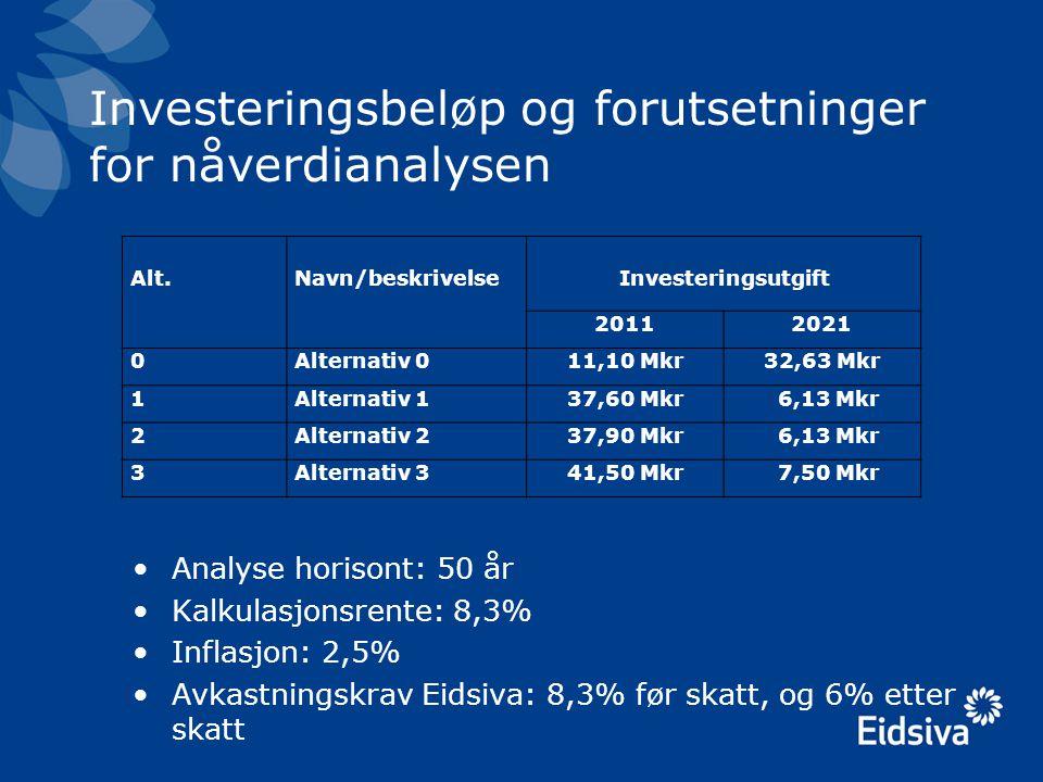 Investeringsbeløp og forutsetninger for nåverdianalysen Alt.Navn/beskrivelseInvesteringsutgift 20112021 0Alternativ 011,10 Mkr32,63 Mkr 1Alternativ 13