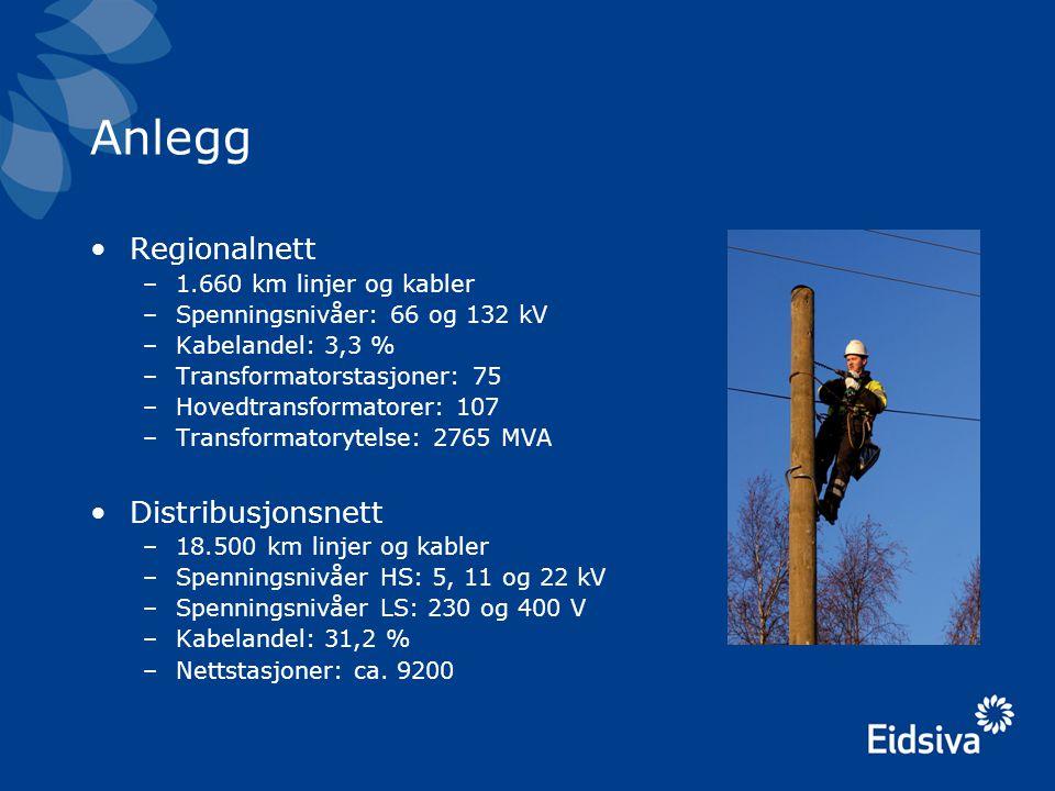 Anlegg •Regionalnett –1.660 km linjer og kabler –Spenningsnivåer: 66 og 132 kV –Kabelandel: 3,3 % –Transformatorstasjoner: 75 –Hovedtransformatorer: 1