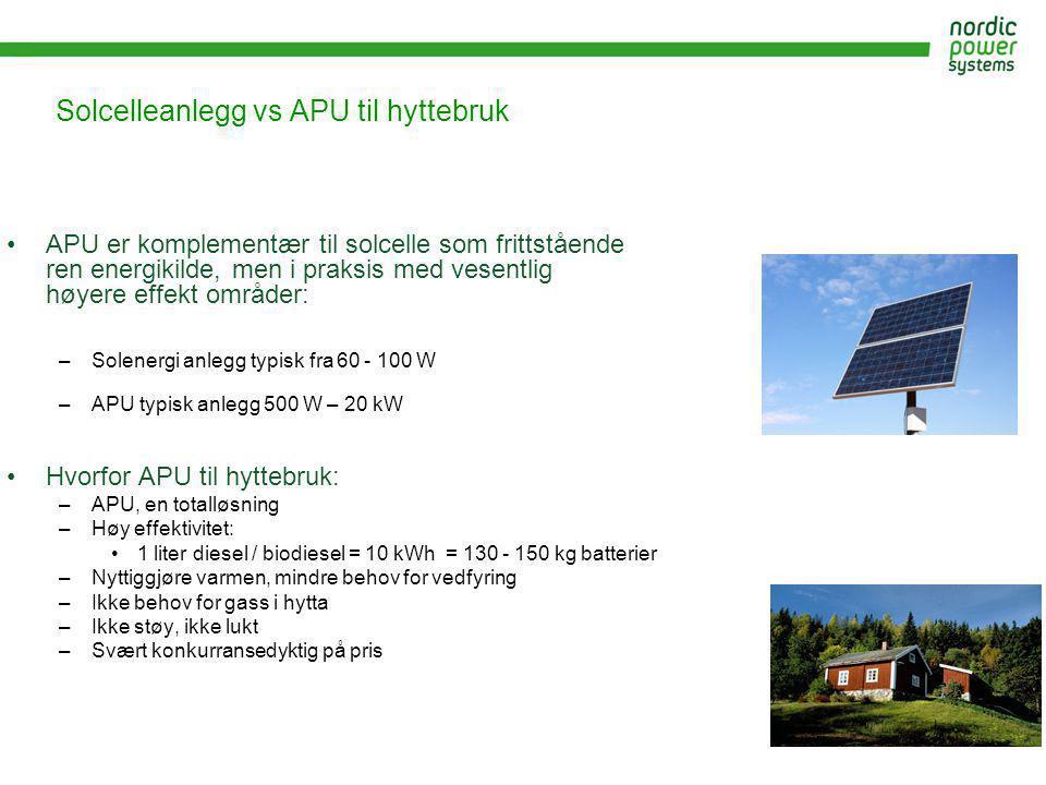 Solcelleanlegg vs APU til hyttebruk •APU er komplementær til solcelle som frittstående ren energikilde, men i praksis med vesentlig høyere effekt områ