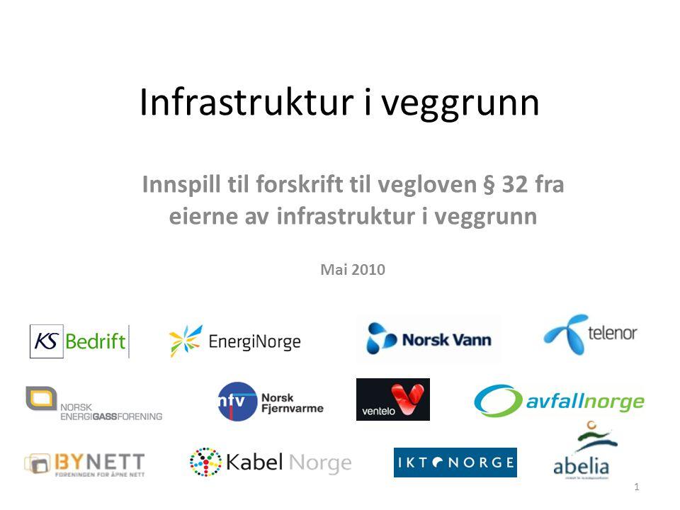 Infrastruktur i veggrunn Innspill til forskrift til vegloven § 32 fra eierne av infrastruktur i veggrunn Mai 2010 1