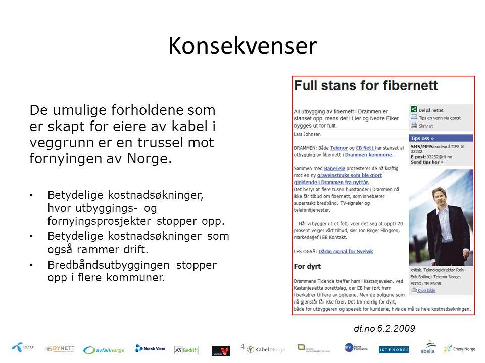 Konsekvenser De umulige forholdene som er skapt for eiere av kabel i veggrunn er en trussel mot fornyingen av Norge. • Betydelige kostnadsøkninger, hv
