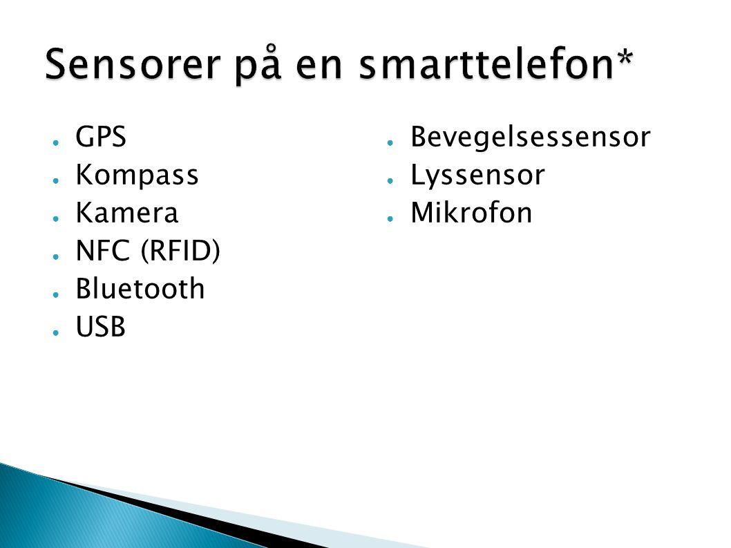 ● GPS ● Kompass ● Kamera ● NFC (RFID) ● Bluetooth ● USB ● Bevegelsessensor ● Lyssensor ● Mikrofon