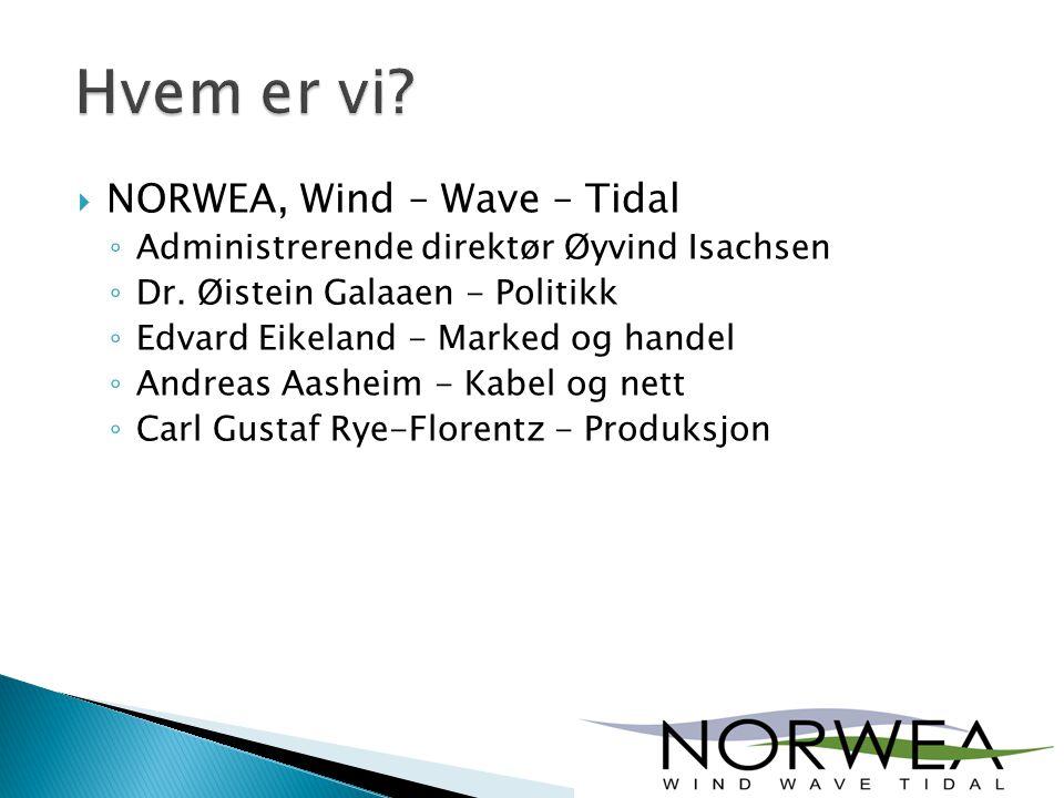  NORWEA, Wind – Wave – Tidal ◦ Administrerende direktør Øyvind Isachsen ◦ Dr. Øistein Galaaen - Politikk ◦ Edvard Eikeland - Marked og handel ◦ Andre