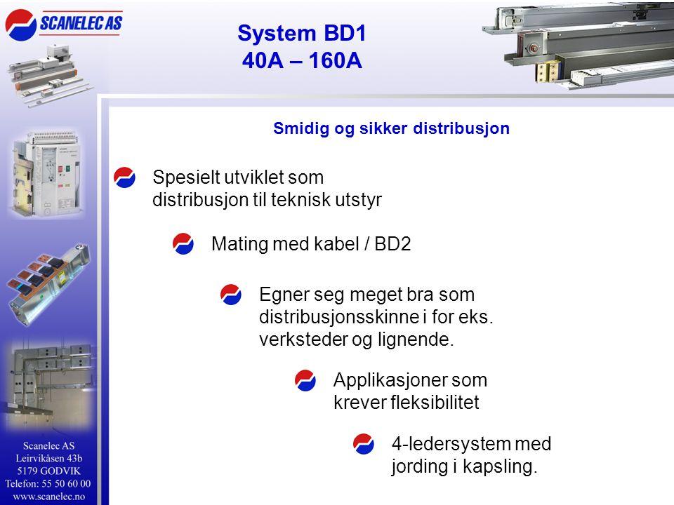System BD1 40A – 160A Spesielt utviklet som distribusjon til teknisk utstyr Applikasjoner som krever fleksibilitet Mating med kabel / BD2 Egner seg meget bra som distribusjonsskinne i for eks.