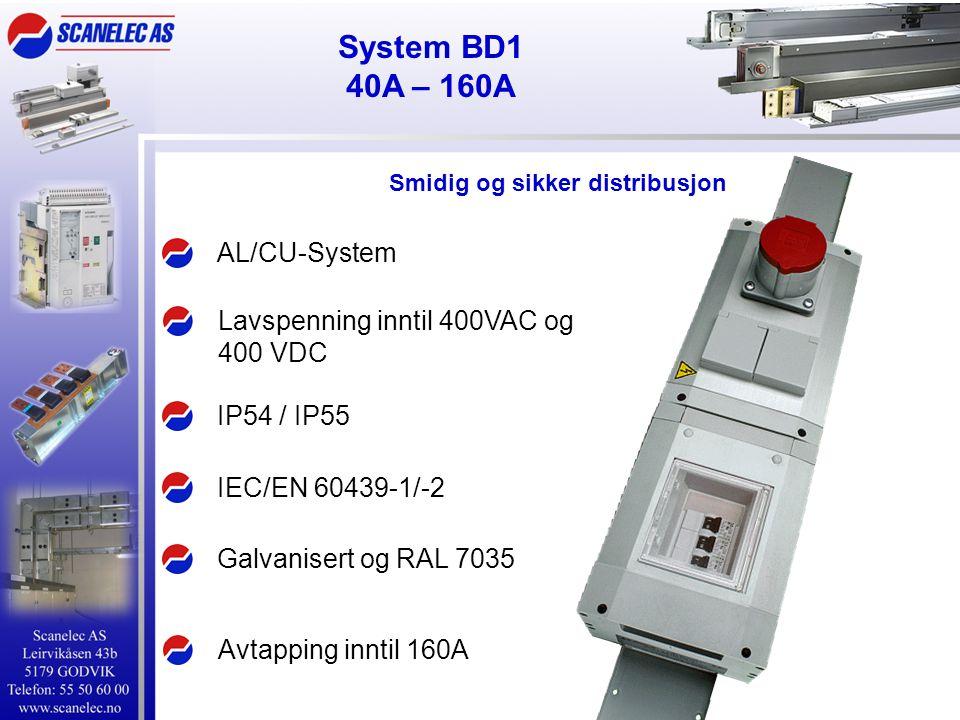 AL/CU-System IEC/EN 60439-1/-2 IP54 / IP55 Lavspenning inntil 400VAC og 400 VDC Avtapping inntil 160A Galvanisert og RAL 7035 Smidig og sikker distrib
