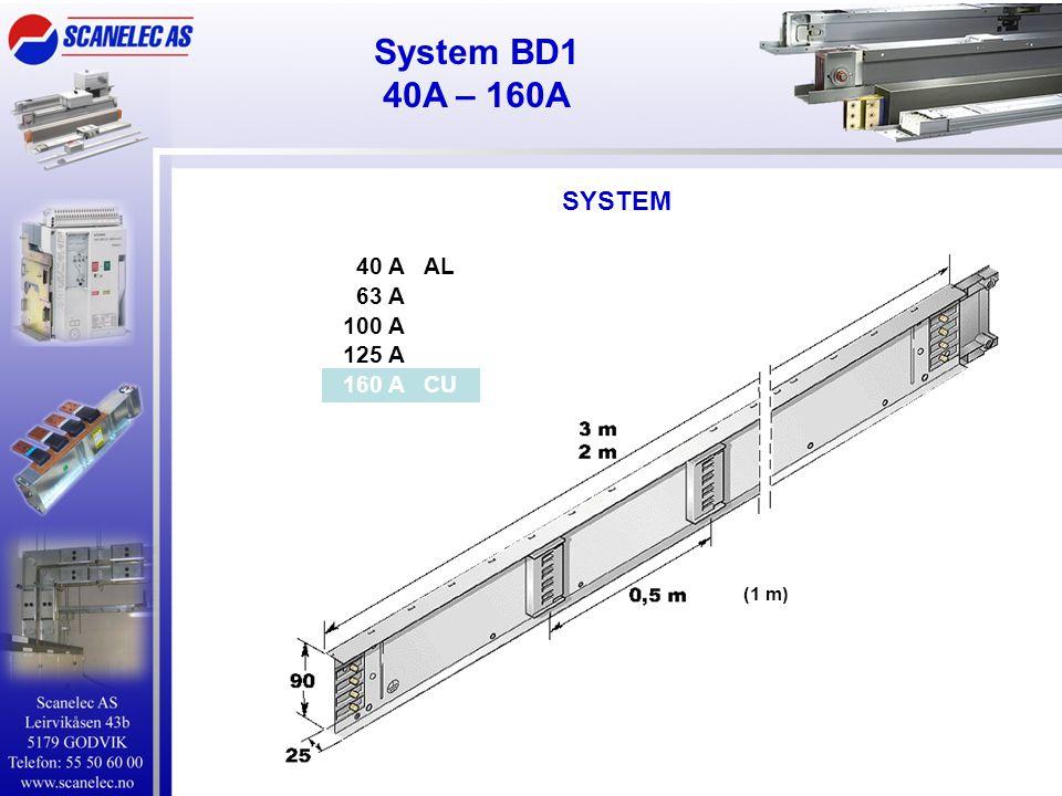 SYSTEM System BD1 40A – 160A (1 m) 40 A AL 63 A 100 A 125 A 160 A CU