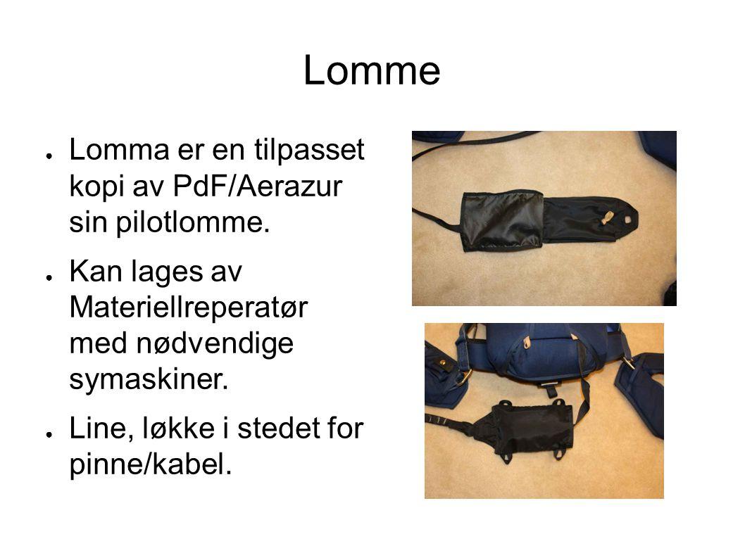 Lomme ● Lomma er en tilpasset kopi av PdF/Aerazur sin pilotlomme. ● Kan lages av Materiellreperatør med nødvendige symaskiner. ● Line, løkke i stedet