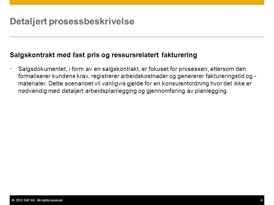 ©2012 SAP AG. All rights reserved.4 Detaljert prosessbeskrivelse Salgskontrakt med fast pris og ressursrelatert fakturering •Salgsdokumentet, i form a