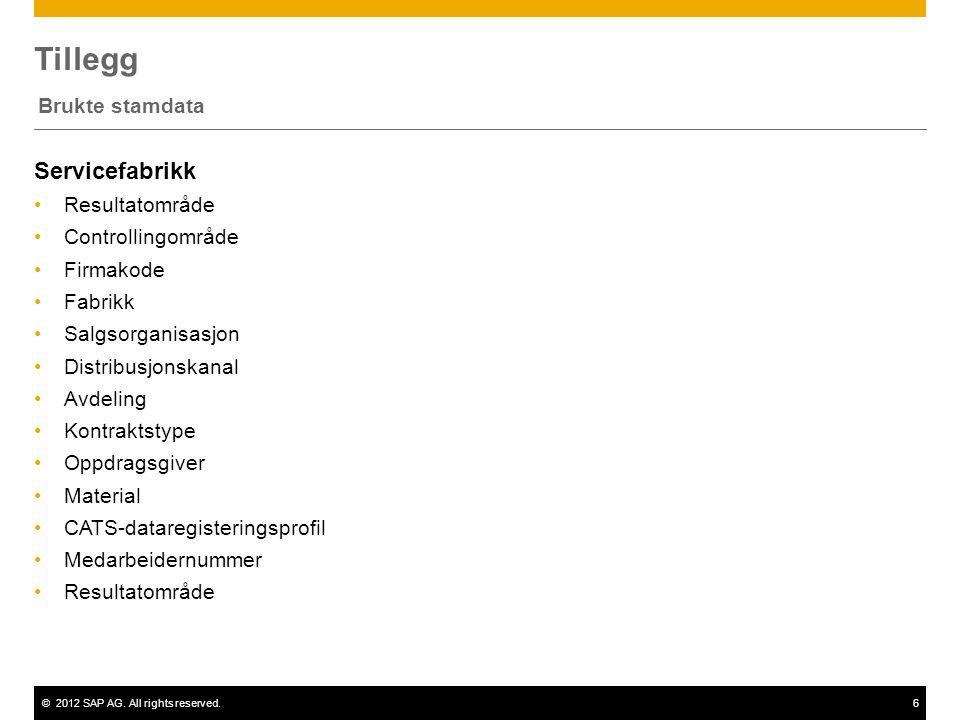 ©2012 SAP AG. All rights reserved.6 Tillegg Brukte stamdata Servicefabrikk •Resultatområde •Controllingområde •Firmakode •Fabrikk •Salgsorganisasjon •