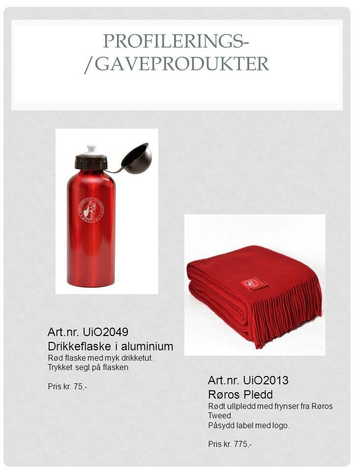 PROFILERINGS- /GAVEPRODUKTER Art.nr. UiO2013 Røros Pledd Rødt ullpledd med frynser fra Røros Tweed. Påsydd label med logo. Pris kr. 775,- Art.nr. UiO2