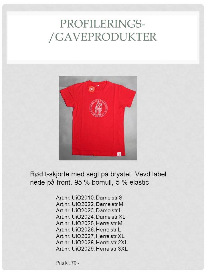 PROFILERINGS- /GAVEPRODUKTER Rød t-skjorte med segl på brystet.