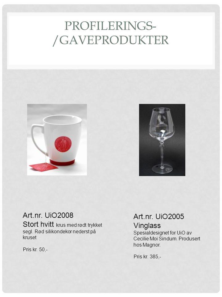PROFILERINGS- /GAVEPRODUKTER Art.nr. UiO2005 Vinglass Spesialdesignet for UiO av Cecilie Moi Sindum. Produsert hos Magnor. Pris kr. 385,- Art.nr. UiO2