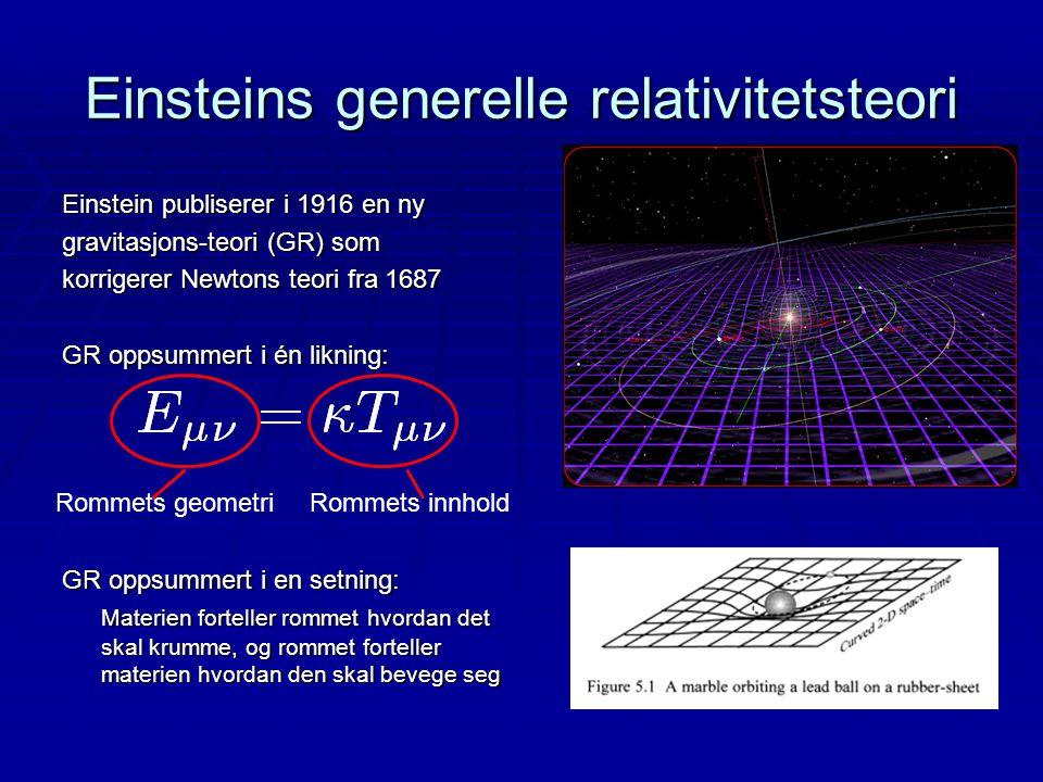 Einstein publiserer i 1916 en ny gravitasjons-teori (GR) som korrigerer Newtons teori fra 1687 GR oppsummert i én likning: GR oppsummert i en setning: