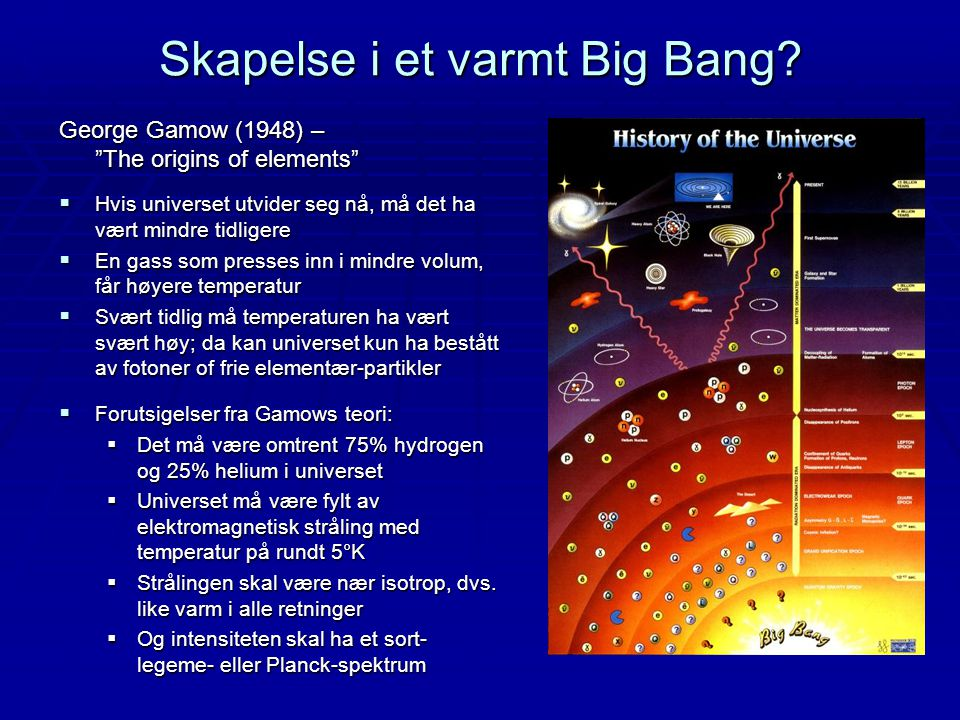 Skapelse i et varmt Big Bang.