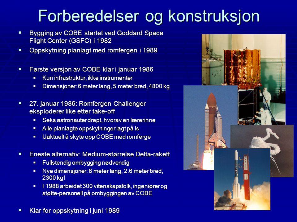 Forberedelser og konstruksjon  Bygging av COBE startet ved Goddard Space Flight Center (GSFC) i 1982  Oppskytning planlagt med romfergen i 1989  Fø