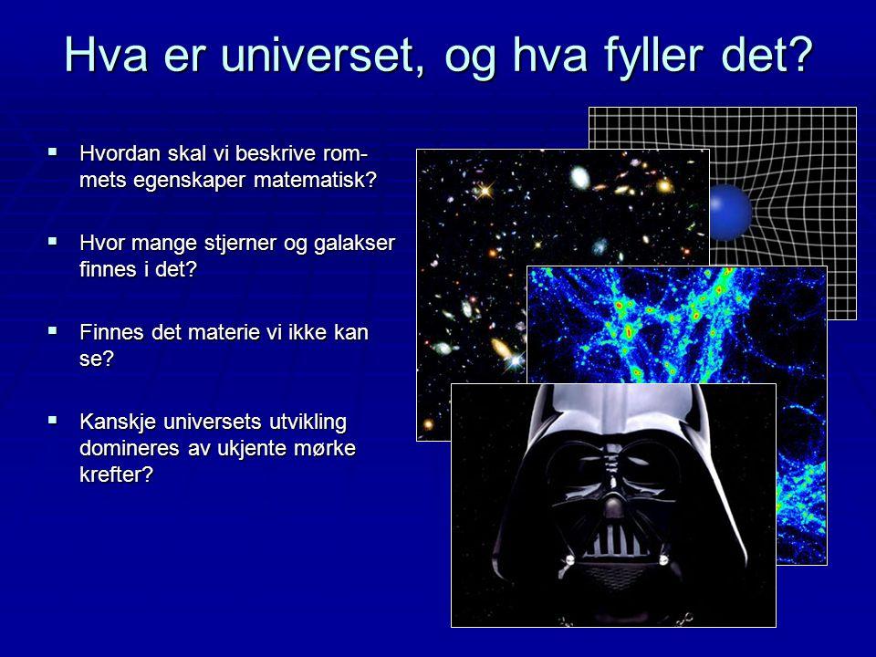 Hva er universet, og hva fyller det?  Hvordan skal vi beskrive rom- mets egenskaper matematisk?  Hvor mange stjerner og galakser finnes i det?  Fin