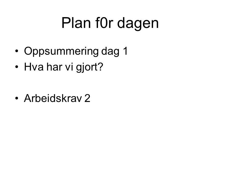 Plan f0r dagen •Oppsummering dag 1 •Hva har vi gjort? •Arbeidskrav 2