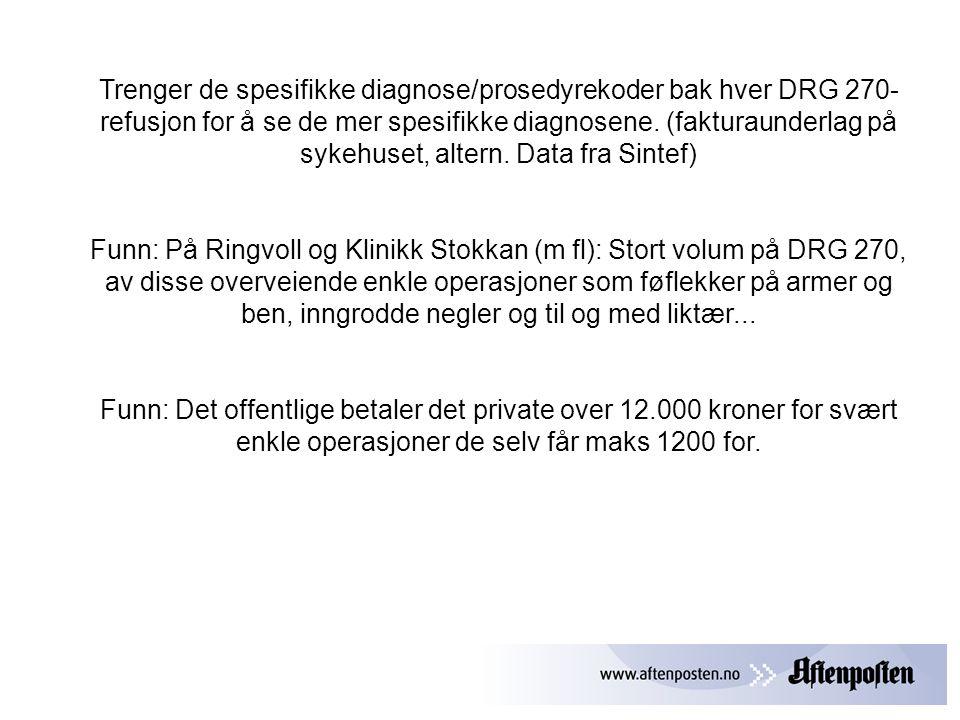 Trenger de spesifikke diagnose/prosedyrekoder bak hver DRG 270- refusjon for å se de mer spesifikke diagnosene.
