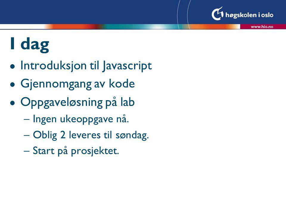 Objekthierarkiet i JavaScript  Avlese og endre innholdet av tekstboksen txtBoks 1 i skjemaet form 1 : var navn = document.form1.txtBoks1.Value; document.form1.txtBoks1.Value = Hei + navn; Ole txtBoks 1 Hei Ole txtBoks 1 Form 1