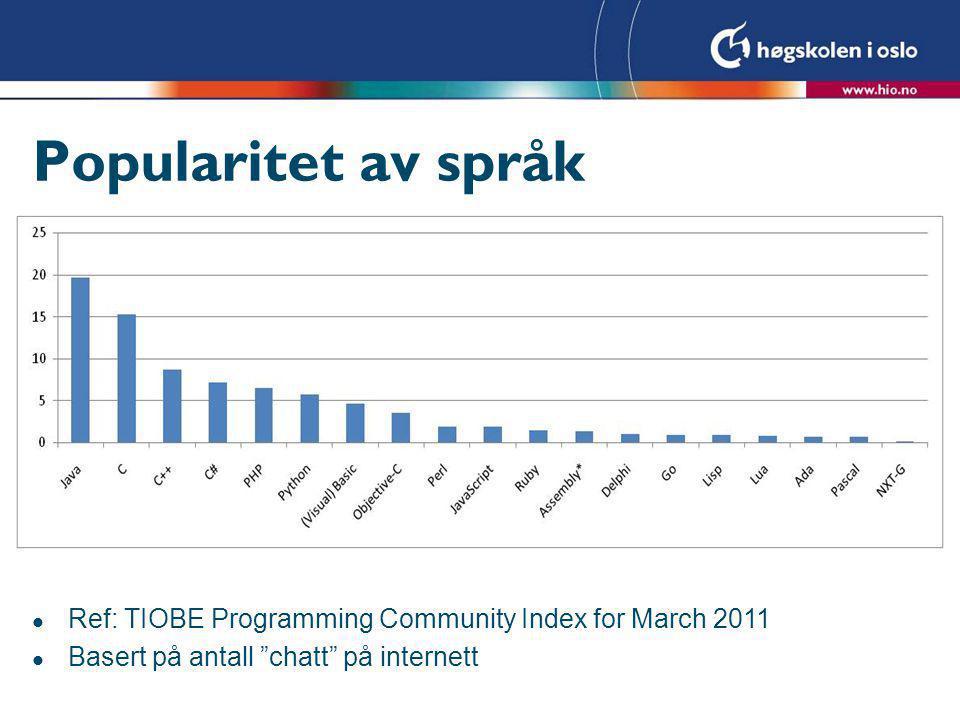 Popularitet av språk 2 Lastet opp av prog i 2009