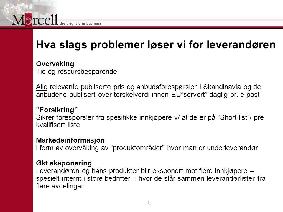 6 Hva slags problemer løser vi for leverandøren Overvåking Tid og ressursbesparende Alle relevante publiserte pris og anbudsforespørsler i Skandinavia og de anbudene publisert over terskelverdi innen EU servert daglig pr.
