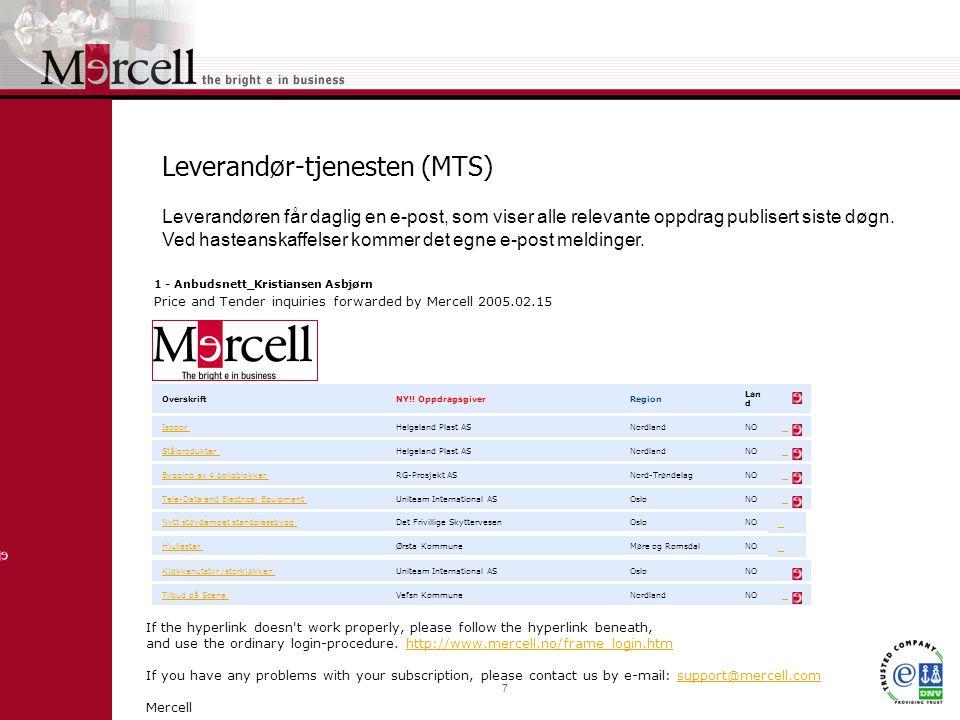 7 Leverandør-tjenesten (MTS) Leverandøren får daglig en e-post, som viser alle relevante oppdrag publisert siste døgn.