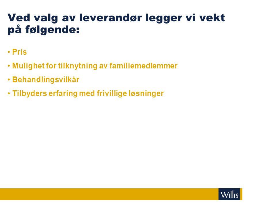 Ved valg av leverandør legger vi vekt på følgende: • Pris • Mulighet for tilknytning av familiemedlemmer • Behandlingsvilkår • Tilbyders erfaring med