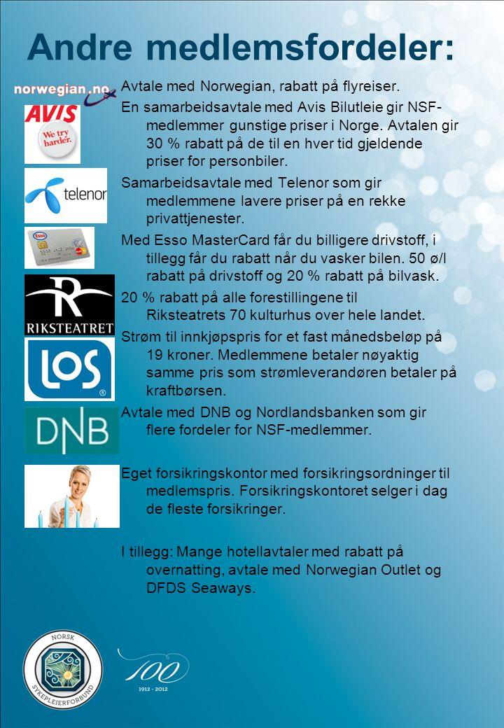 Andre medlemsfordeler: Avtale med Norwegian, rabatt på flyreiser. En samarbeidsavtale med Avis Bilutleie gir NSF- medlemmer gunstige priser i Norge. A