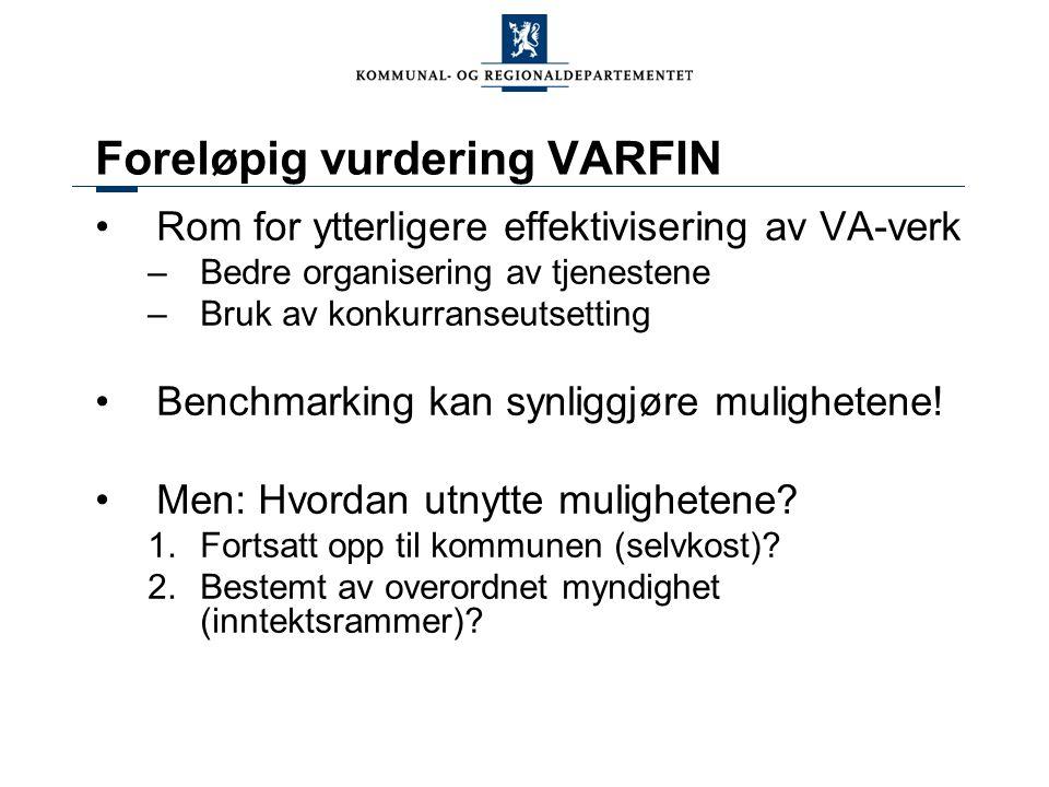 Foreløpig vurdering VARFIN •Rom for ytterligere effektivisering av VA-verk –Bedre organisering av tjenestene –Bruk av konkurranseutsetting •Benchmarking kan synliggjøre mulighetene.