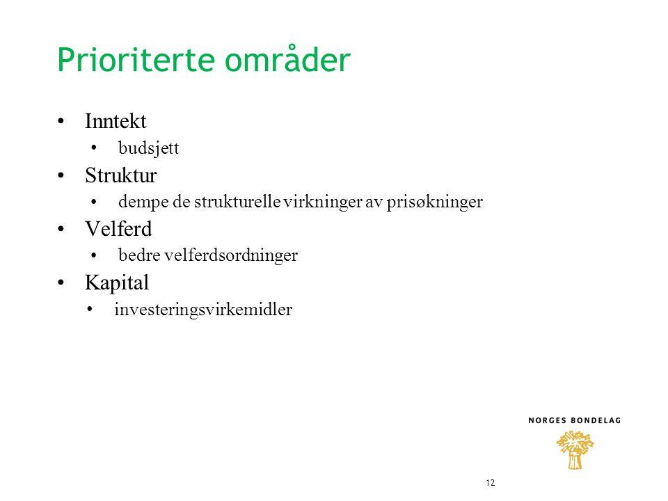 Prioriterte områder •Inntekt • budsjett •Struktur •dempe de strukturelle virkninger av prisøkninger •Velferd •bedre velferdsordninger •Kapital • investeringsvirkemidler 12