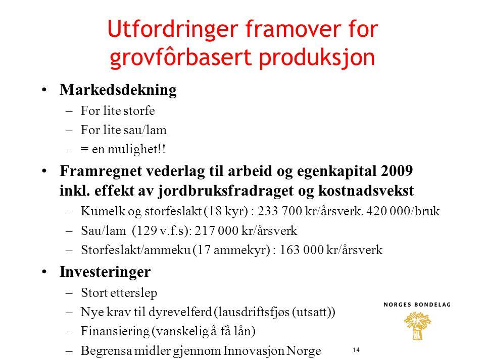 Utfordringer framover for grovfôrbasert produksjon •Markedsdekning –For lite storfe –For lite sau/lam –= en mulighet!.