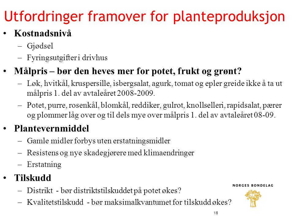 Utfordringer framover for planteproduksjon •Kostnadsnivå –Gjødsel –Fyringsutgifter i drivhus •Målpris – bør den heves mer for potet, frukt og grønt.