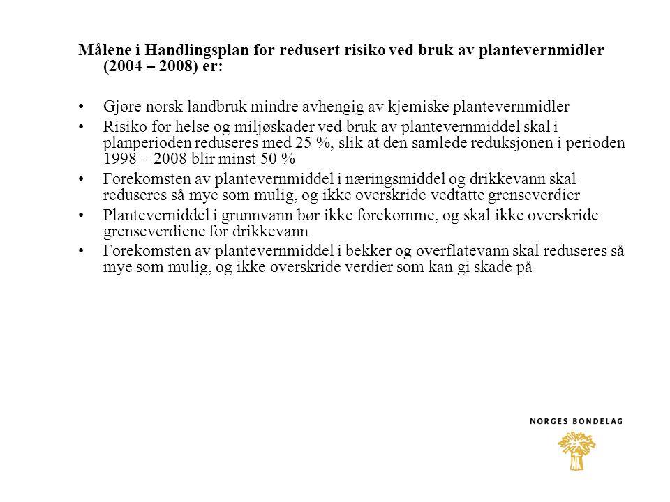 Målene i Handlingsplan for redusert risiko ved bruk av plantevernmidler (2004 – 2008) er: •Gjøre norsk landbruk mindre avhengig av kjemiske plantevernmidler •Risiko for helse og miljøskader ved bruk av plantevernmiddel skal i planperioden reduseres med 25 %, slik at den samlede reduksjonen i perioden 1998 – 2008 blir minst 50 % •Forekomsten av plantevernmiddel i næringsmiddel og drikkevann skal reduseres så mye som mulig, og ikke overskride vedtatte grenseverdier •Planteverniddel i grunnvann bør ikke forekomme, og skal ikke overskride grenseverdiene for drikkevann •Forekomsten av plantevernmiddel i bekker og overflatevann skal reduseres så mye som mulig, og ikke overskride verdier som kan gi skade på