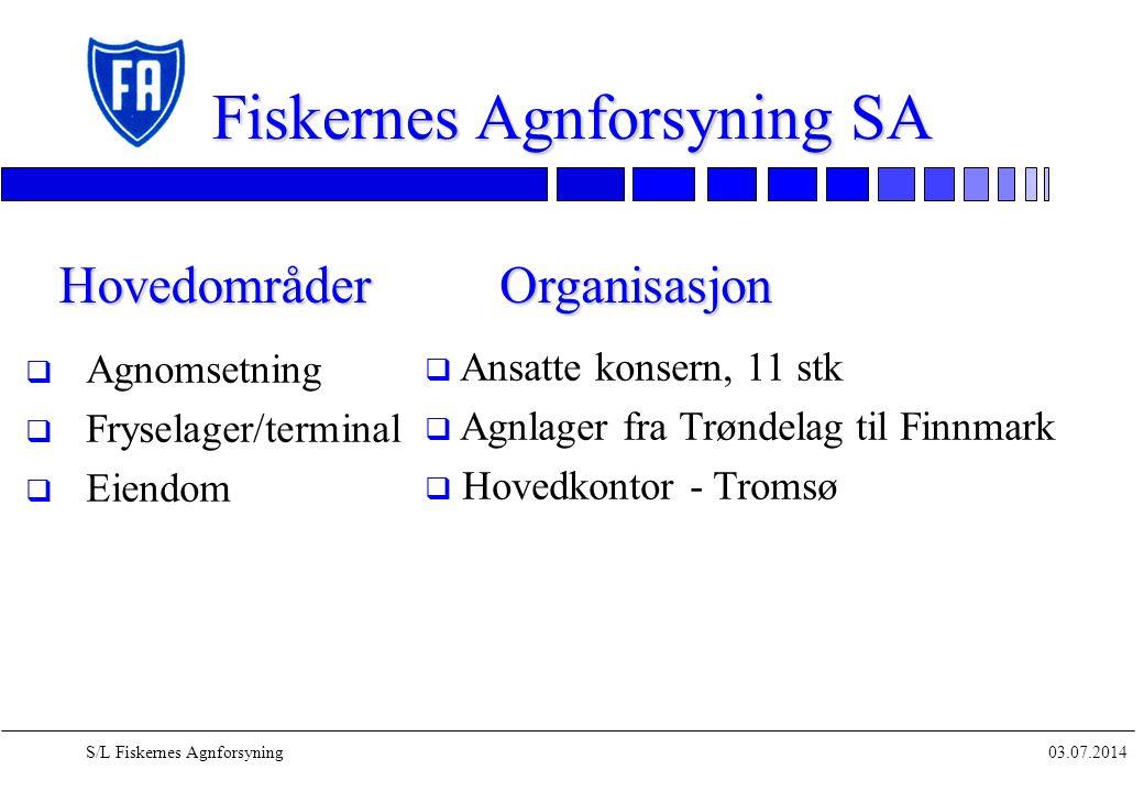 03.07.2014S/L Fiskernes Agnforsyning Fiskernes Agnforsyning SA q Agnomsetning q Fryselager/terminal q Eiendom Hovedområder q Ansatte konsern, 11 stk q