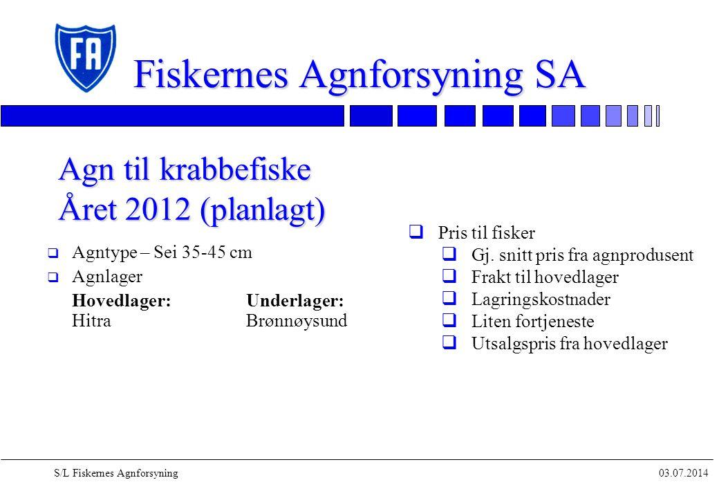 03.07.2014S/L Fiskernes Agnforsyning Fiskernes Agnforsyning SA q Agntype – Sei 35-45 cm q Agnlager Hovedlager:Underlager: HitraBrønnøysund Agn til kra