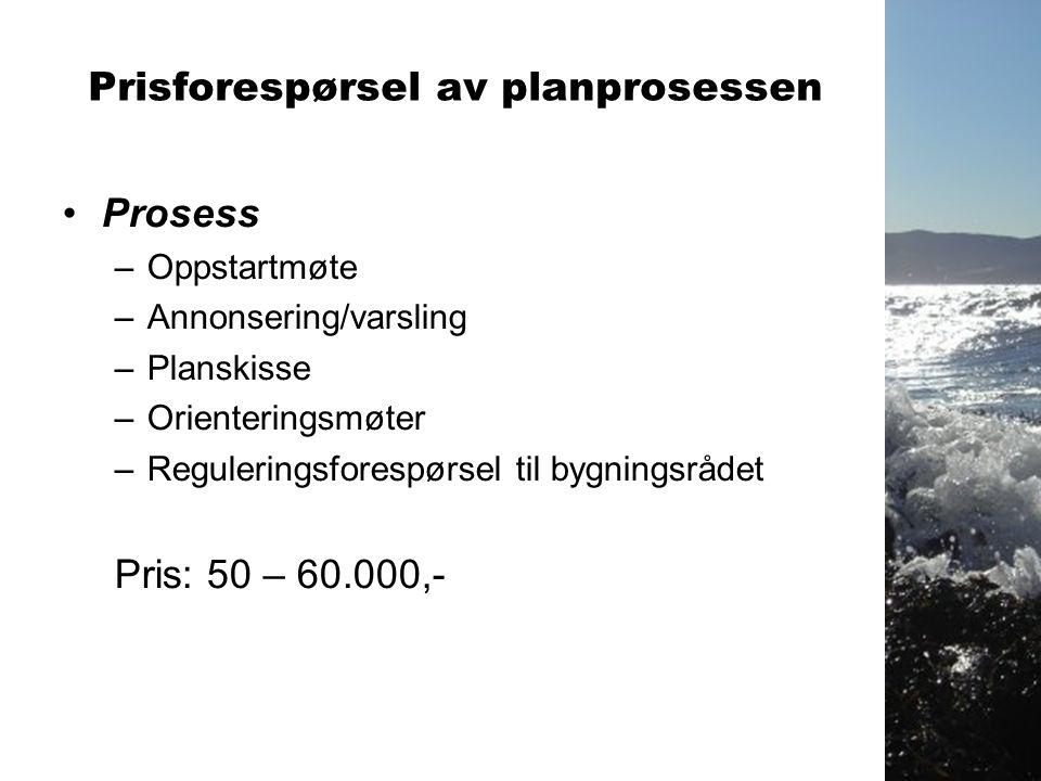 Prisforespørsel av planprosessen •Prosess –Oppstartmøte –Annonsering/varsling –Planskisse –Orienteringsmøter –Reguleringsforespørsel til bygningsrådet Pris: 50 – 60.000,-