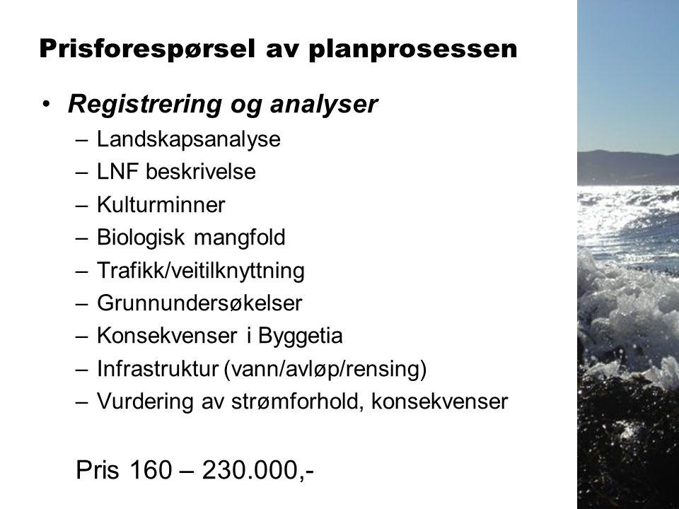 •Utarbeidelse av plan –Planforslag –Planbeskrivelse –Planbestemmelse –Digitalt planforslag Pris: 110 – 140.000,- Samlet pris på planprosessen.